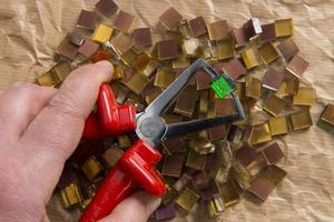 mosaico, vetro oro e verde