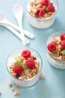 petit-déjeuner sain avec du yogourt granola et framboise