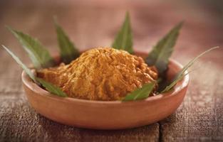 pâte médicinale de curcuma aux feuilles de neem photo