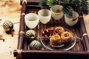 plateau avec des bonbons de Noël