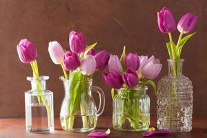 Beau bouquet de fleurs de tulipes violettes dans des vases