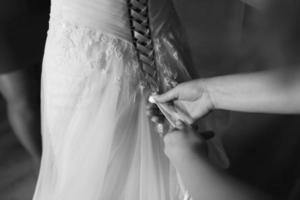 matin nuptiale magique. mariée se prépare photo