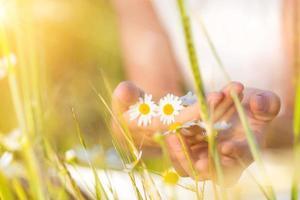 femme tenant des fleurs photo