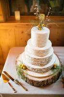 gâteau de mariage décoré de craspedia, fougère, blé photo