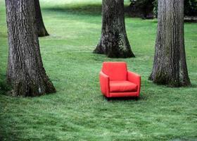 chaise rouge sur pelouse photo