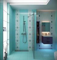 salle de bain et wc aux couleurs bleues photo