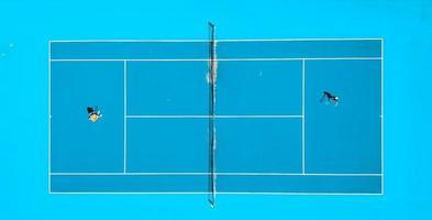 photographie aérienne d'un match de tennis