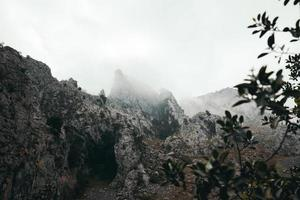 nuage de brouillard au sommet de la montagne photo