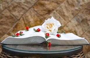 livre ouvert avec des fleurs dessus