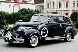 voiture de mariage vintage photo