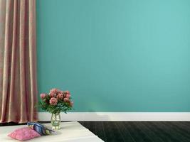 intérieur romantique avec rideaux roses et décor