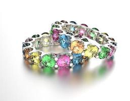bague avec pierre précieuse de couleur différente. fond de bijoux photo