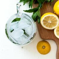 glace et menthe dans une cruche pour un cocktail, tranches de citron