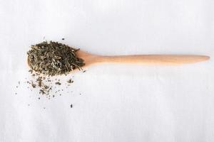 thé vert sur cuillère en bois