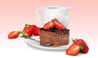 gâteau, tranche, crème