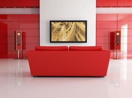 conception de cinéma maison dans le thème de couleur rouge