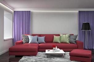 intérieur avec canapé. Illustration 3d photo