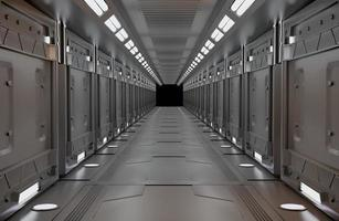 intérieur métallique de vaisseau spatial avec vue photo