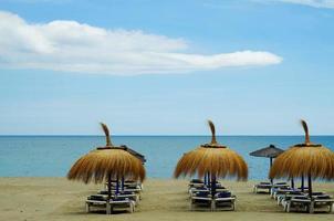 parapluies, plage, mer, parapluie, été, voyage, océan photo
