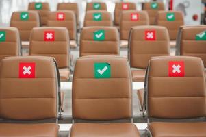 chaises avec signe de distance sociale