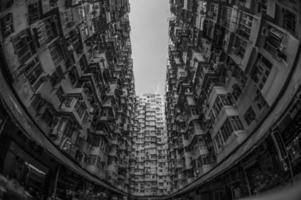 oeil de poisson en niveaux de gris d'immeubles de grande hauteur