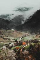 champ d'herbe verte près de la montagne