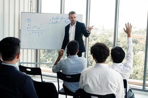 patron et employés dans une salle de réunion