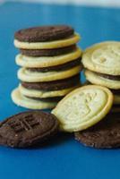 biscuits au chocolat et blancs avec renne et cadeau pour Noël