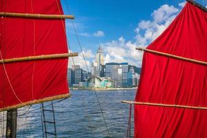 Victoria Harbour Hong Kong avec bateau vintage.