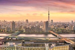 tokyo, horizon, à, coucher soleil