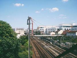 vue aérienne des voies ferrées photo
