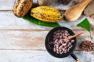 fèves de cacao crues et cabosses de cacao photo
