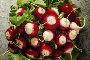 ð¡oncept de la nourriture végétalienne - radis avec des gouttes d'eau photo