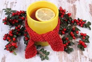 tasse de thé avec écharpe en laine enveloppée de citron et cotonéaster photo