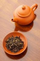 feuilles de thé séché chinois photo
