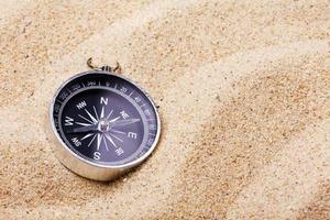 boussole sur le sable chaud