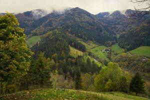 Vue sur la vallée de la forêt noire (Simonswälder tal) en automne, Allemagne