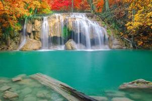cascade dans la forêt profonde au parc national de la cascade d'erawan,