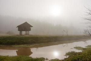 chalet dans la brume photo