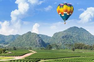 montgolfière sur la montagne et la plantation de thé photo