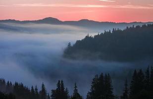 majestueux coucher de soleil dans le paysage des montagnes. Carpates, Ukraine