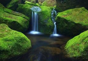 cascade sur petit ruisseau de montagne photo