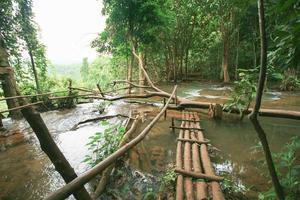 Cascade dans la forêt tropicale sounthern de loas photo