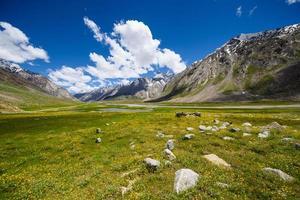 champ dans les montagnes avec des nuages dans le ciel bleu photo