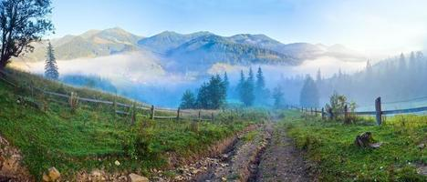 panorama brumeux de montagne d'été.