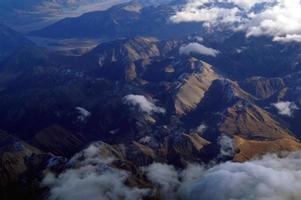 Vue aérienne de l'île du sud de la Nouvelle-Zélande