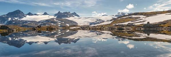 panorama des montagnes et des lacs photo