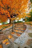 maison d'automne et escaliers