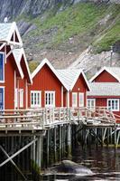 Maisons traditionnelles dans les Lofoten, Norvège photo
