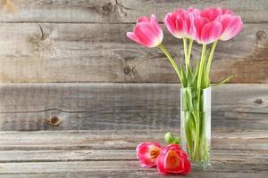 Tulipes roses dans un vase sur fond de bois gris photo